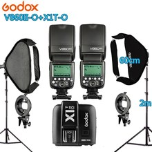 Photo Studio Kit 2X Godox V860IIO Flash +1 X1T-O Trigger +2 Light Stand +2 Softbox Photography Accessories for Olympus Panasonic