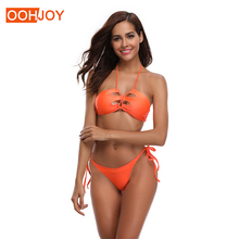 New Sexy Solid Orange Bikini Women Swimsuit Strappy Bandage Swimwear S-XLLow Waist Halter Bathing Suit Girl Backless Bikini Set stylish halter strappy backless crochet underwire bikini set for women