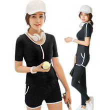Yoga Set Sexy  T-shirt +Pants or Shorts Quick Dry Breathable Gym Sports Training Clothing Stretch Well Fitness suit for Women
