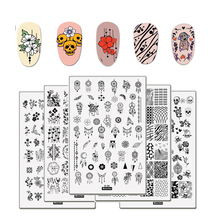 Big Size Nail Stamping Plates Flower Geometry Cute Animal Nail Template Mandala Leaf Stamp Nail Art Stamp Image Template Stencil nicole diary nail stamping plates nail template flower animal pattern nail stamp nail art stamp image template
