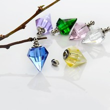 100pieces 19.2*13.8mm glass vail necklace pendant Glass Crystal perfume bottle name on rice art charms