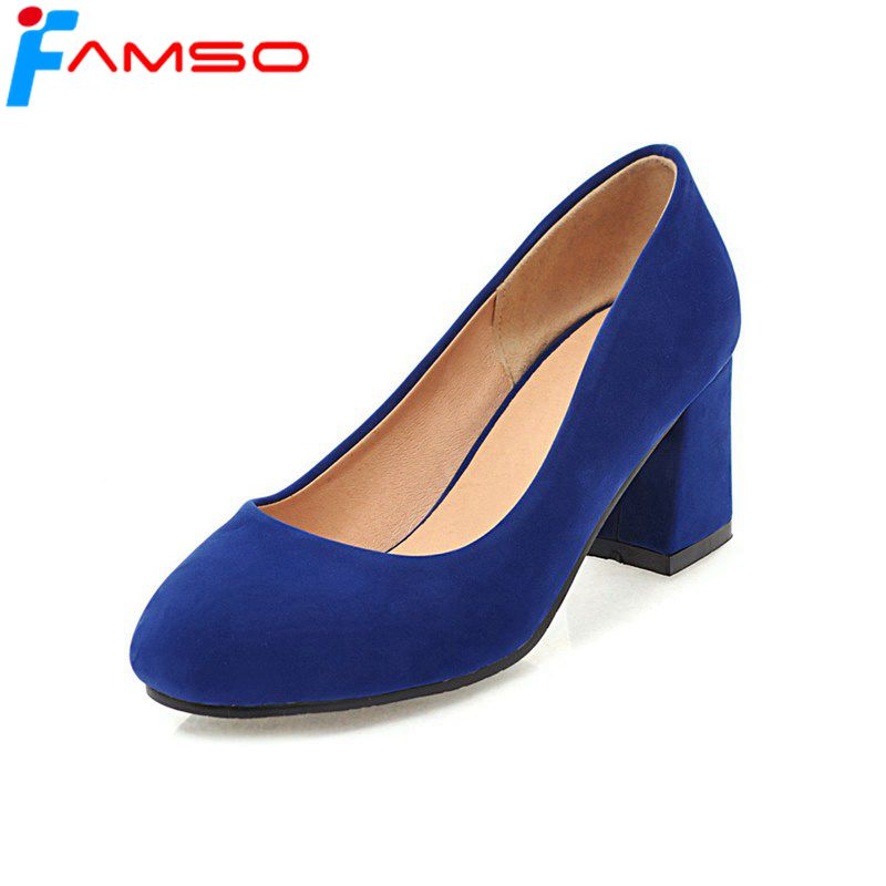 FAMSO Size34 43 2019 New Women Pumps Black Red Blue High