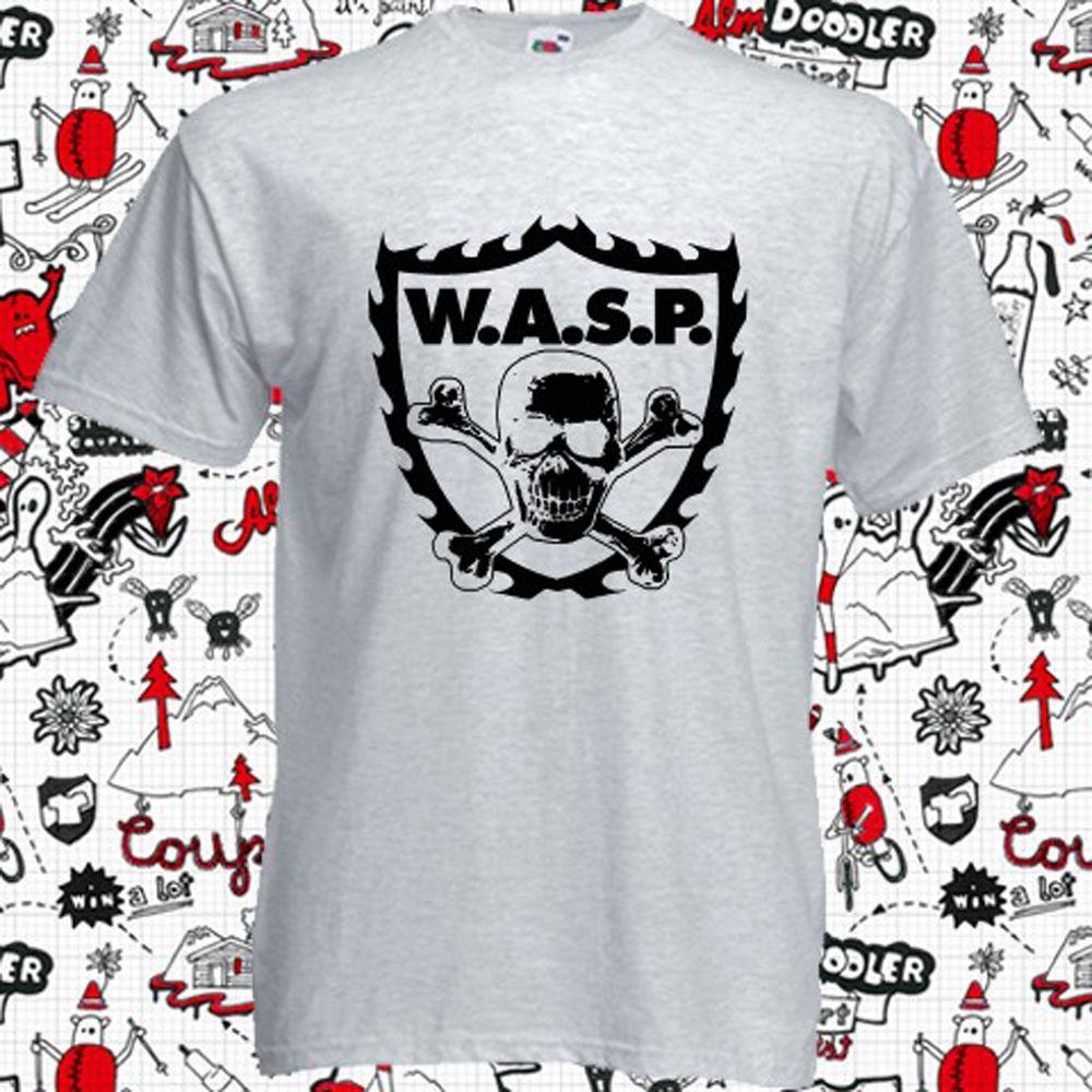 New WASP W.A.S.P. CROSSBONES Metal Rock Band Mens Grey T-Shirt Size S-3XL