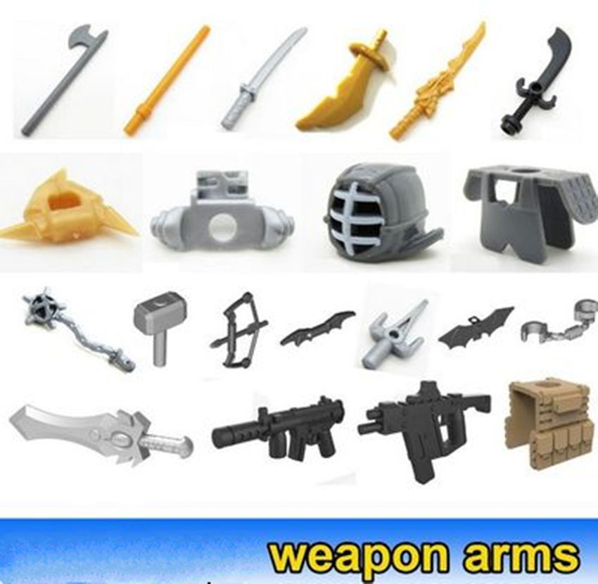 20pcs MOC DIY Brick Parts Weapon Arms Knife Sword Building Part DIY Block Compatible Legos Bricks Set  Blocks Toys Part
