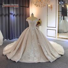 Женское свадебное платье с открытыми плечами, длинным шлейфом