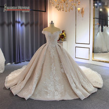 Off the shoulder straps robe de soiree  wedding dress with long train