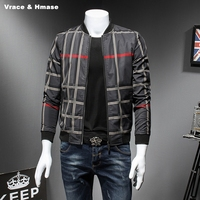 J17211 European And American Style Fashion Classic Plaid Baseball Jacket Autumn 2017 New Quality Stand Collar