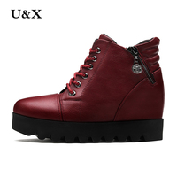 U X Fall Winter Casual Boots Red Black Women S Ankle Boots Soft Leather Shoes Fashion