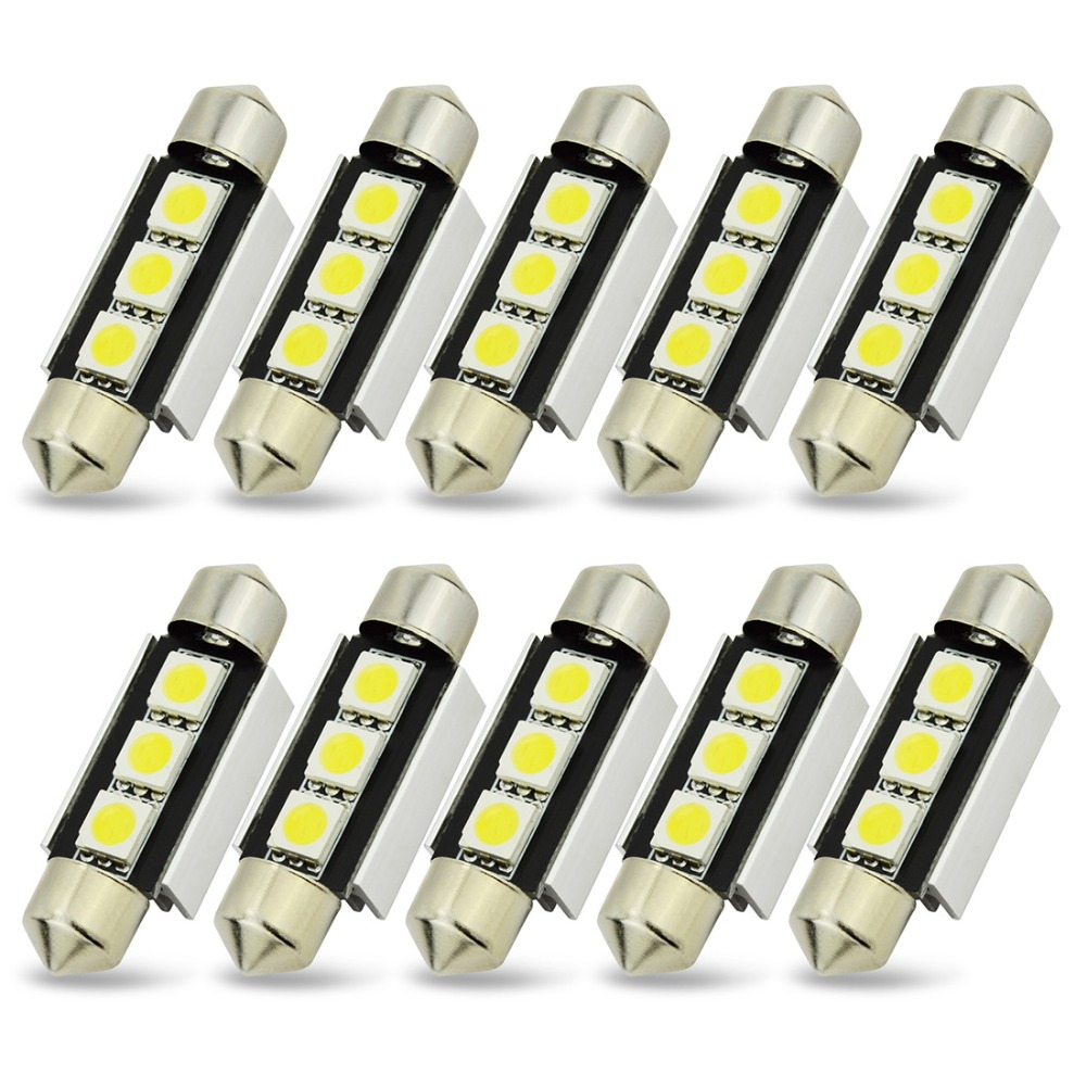 Safego 10pcs Festoon Canbus C5W 36mm 39mm 42mm LED Dome light Error Free 3 SMD 5050 12V LED car lights License Plate Light Bulb 2pcs festoon led 36mm 39mm 41mm canbus auto led lamp 12v festoon dome light led car dome reading lights c5w led canbus 36mm 39mm