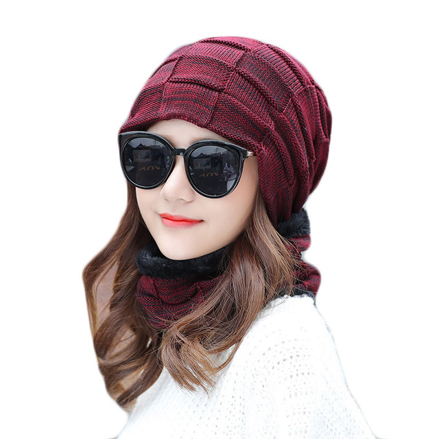 480f4163249 2018 A Set Men Women Winter Warm Hats Scarves Cotton Knitted Hat Collar Set  For Male