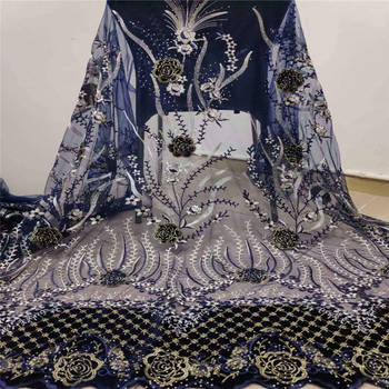 French Net Lace Fabric 2019 Latest African Stone Lace Fabric With Embroidery Mesh Tulle Lace Fabric High quality Nigerian Lace
