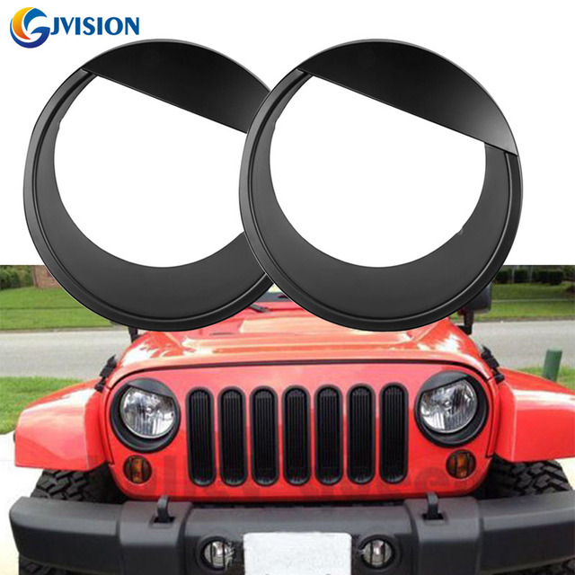 For 07 - 16 Jeep Wrangler JK & JK Unlimited Black Bezels Front Light Headlight Angry Bird Style ABS Trim Cover Eyebrow - Pair