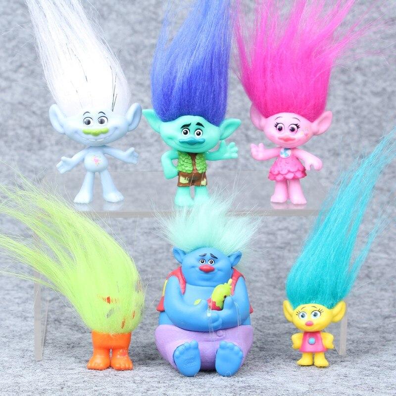 6Pcs/Set New Trolls Action Figures Toys Dreamworks 3-7cm mini Poppy Branch Biggie PVC model dolls collection for kids gift