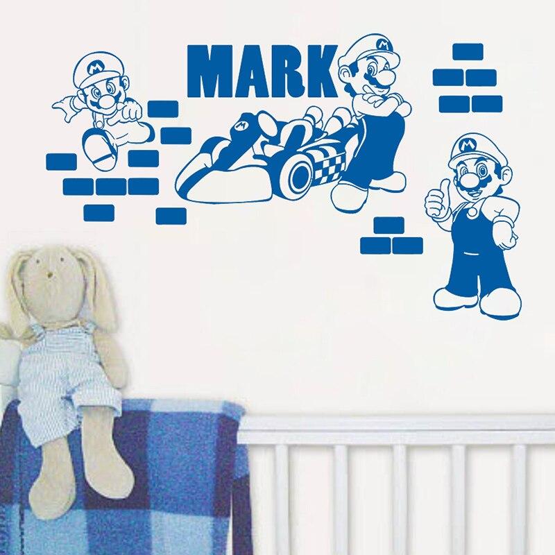 2016 super mario diy personalized name wall sticker