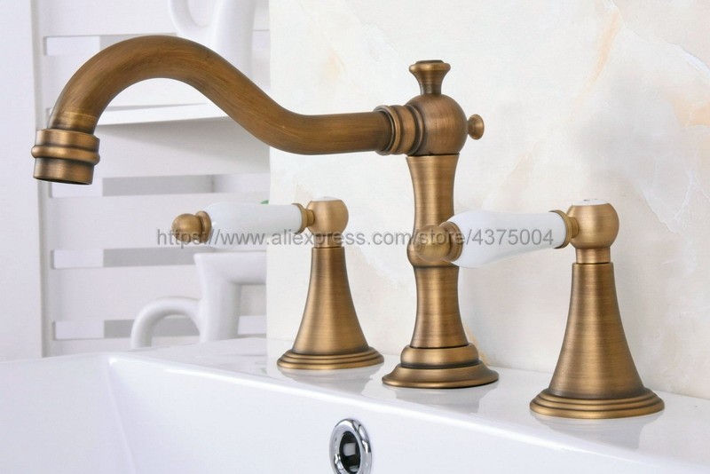 Laiton Antique 3 trous Double poignée salle de bain évier robinet baignoire robinets chaud froid mélangeur eau Nan084