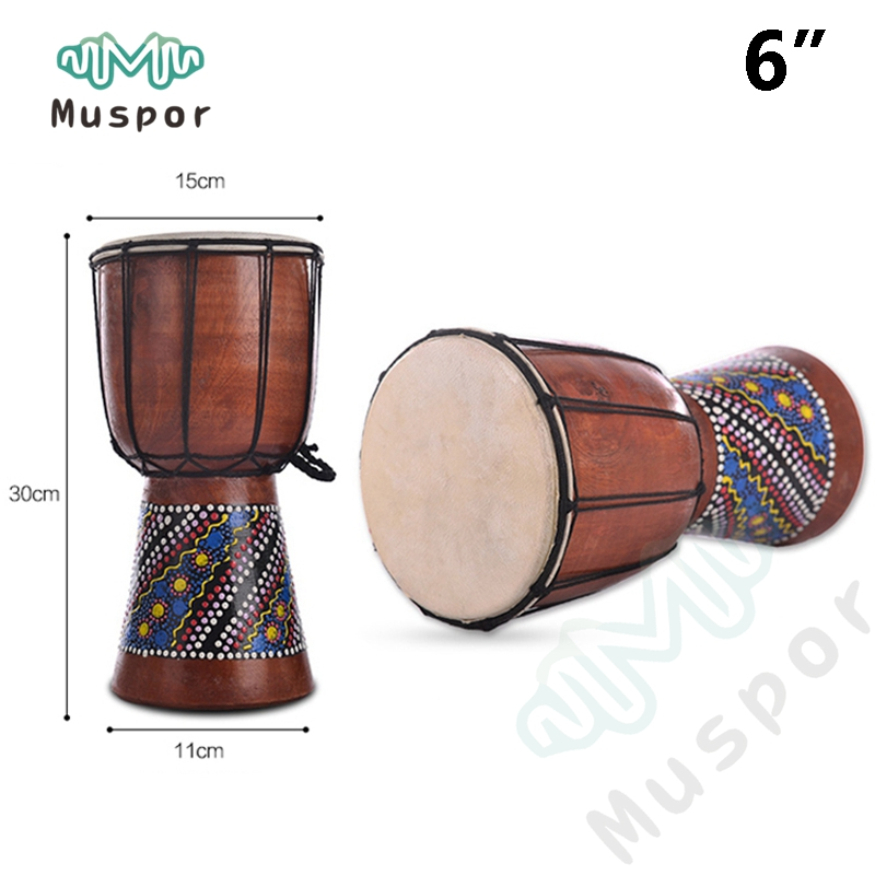 6 djembe drummer percussion 6 inch classic painting wooden african style hand drum for children. Black Bedroom Furniture Sets. Home Design Ideas