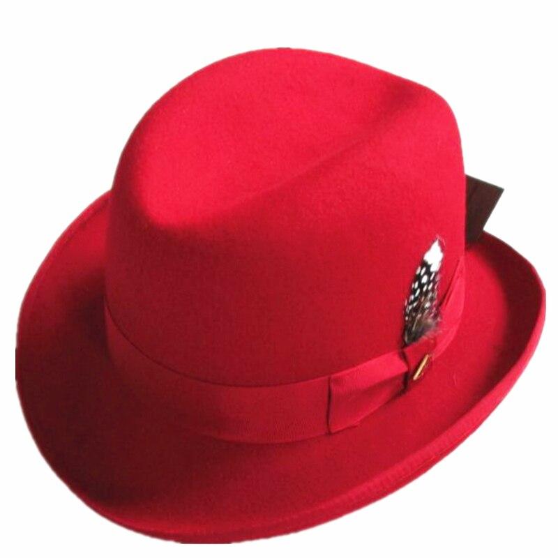 Red Wool Felt Homburg Fedora Hat / Godfather Hat