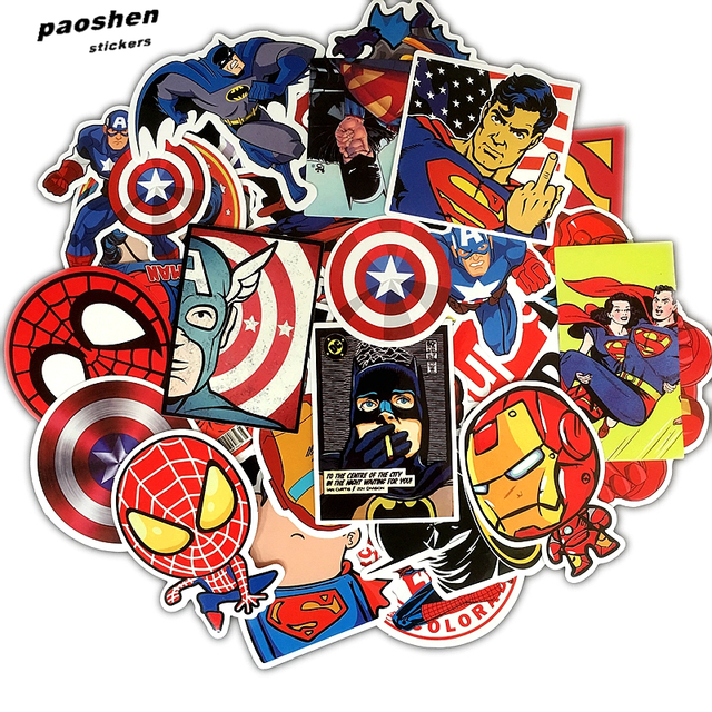 50Pcs/Lot Pvc Waterproof Marvel Anime Multicolor Stickers For Laptop Motorcycle Skateboard Luggage Decal Toy Appliance Decor