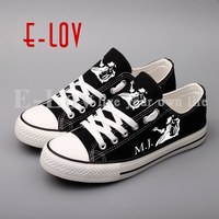E LOV Rock And Roll Printed Men Boys Casual Shoes Hip Hop Michael Jackson Print Canvas