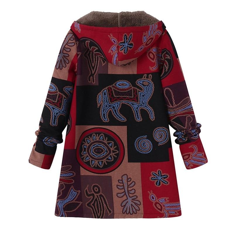ZANZEA 2018 Casual Fashion Winter Hooded Long Sleeve Fluffy Warm Coat Women Plus Size L 5XL Retro Ethnic Printed Fur Outerwear 1