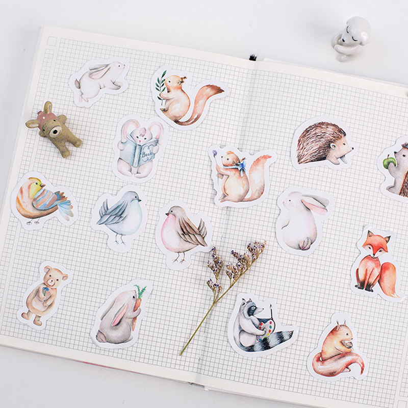 45 pcs/lot cute forest animal mini paper sticker decoration DIY album diary planner scrapbooking label sticker kawaii stationery diary handbook decoration animal post stamper silicone rubber stamp for scrapbooking album design for diy photo paper card craft