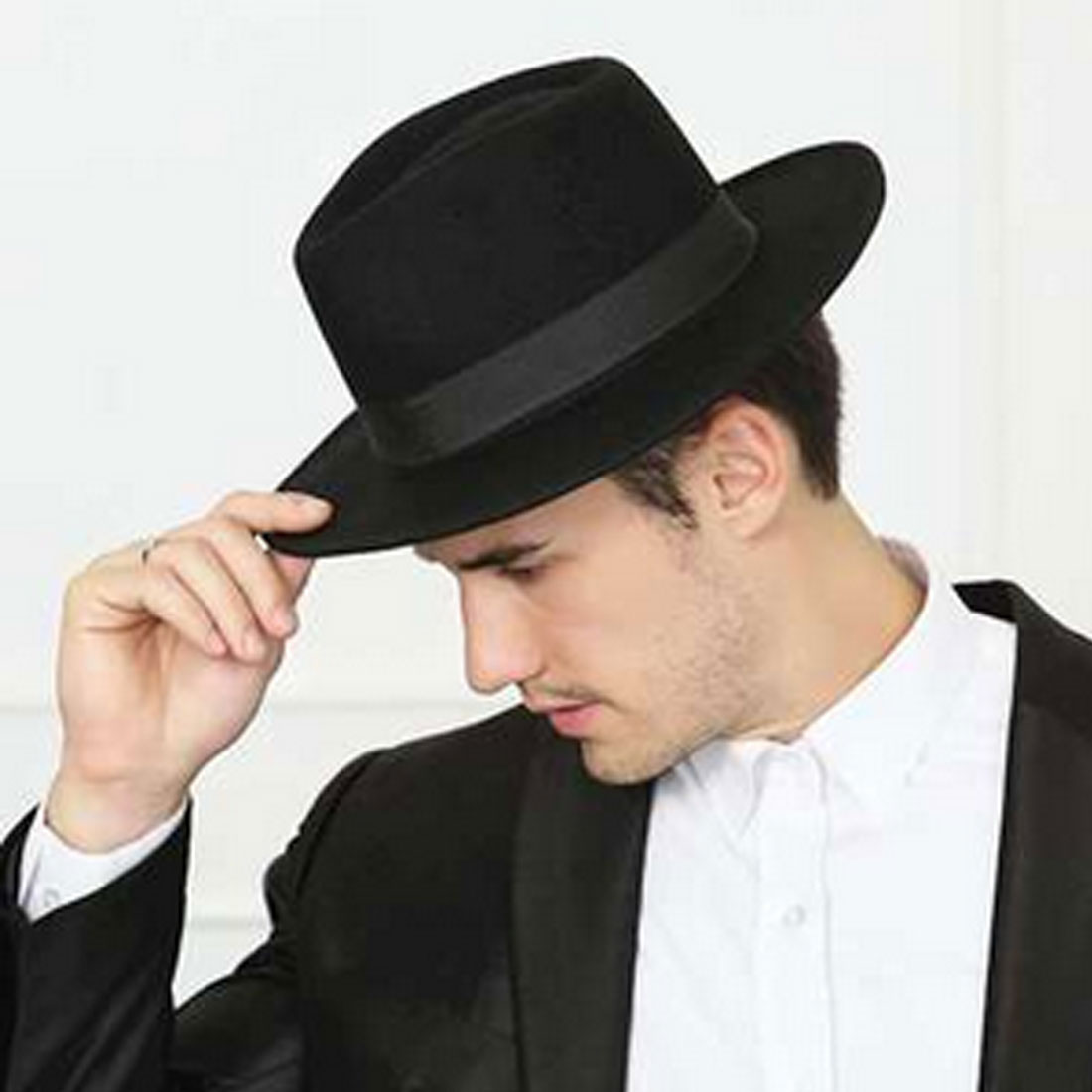 Mens//Womens Vintage Structured Stain-Resistant Wool Blend Fedora Hat