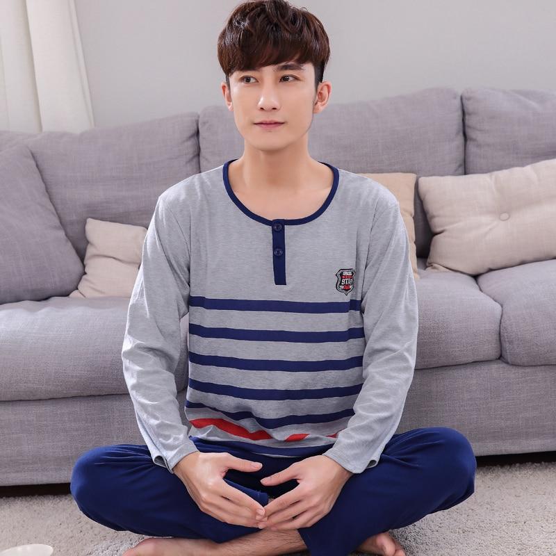 Mens Pajamas Spring And Autumn Long Sleeves Cotton Sleepwea Pyjamas Men Sleep Lounge Pajama Set Fashion Stripe Stitching Apparel