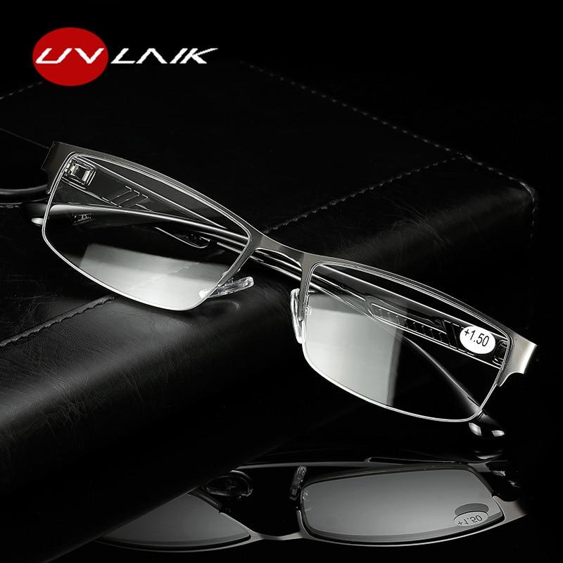 UVLAIK Men Presbyopic Glasses Male High Quality Metal Half Frame Reading Glasses Anti Radiation Elderly Eyeglasses