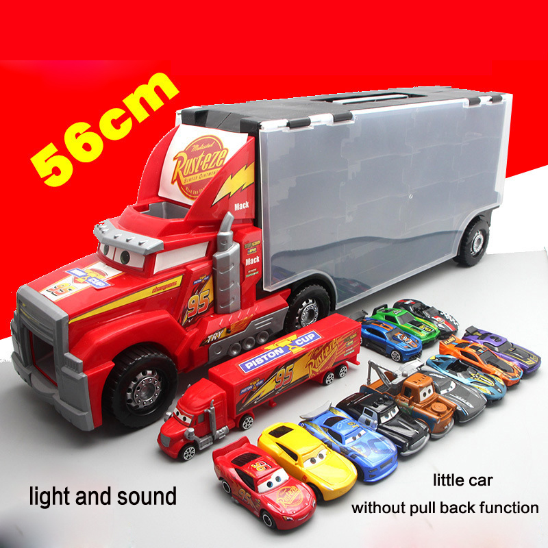 56cm Portable Storage Container Toy Car Model Pull Back Mr Mack Cartoon Car Story Big Container Alloy Car Toy Set With 12 Cars mr froger carcharodon megalodon model giant tooth shark sphyrna aquatic creatures wild animals zoo modeling plastic sea lift toy
