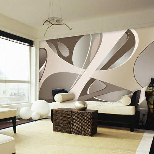 Black White flower 3D Abstract Photo Mural Wallcoverings ...