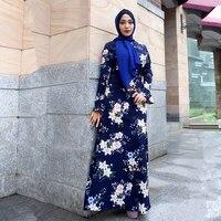 Vestidos 2018 Abaya Dubai Kaftan Turkey Indonesia Floral Hijab Muslim Dress Qatar UAE Abayas For Women Turkish Islamic Clothing