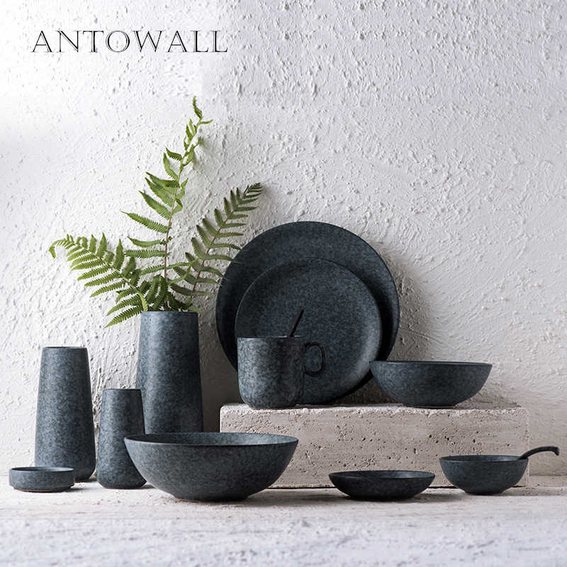 ANTOWALL Nordic Modern Minimalist Gray Ceramic Tableware Set Rice Bowl Salad Bowl Dinner Plate Gray Marble Dishes Snack Dish