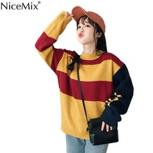 NiceMix 2019 Autumn Stripe Sweater Women Pullovers Knitted Preppy Style Knitwear Fashion Woman Clothes Pull Femme Jersey Mujer