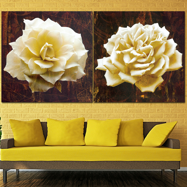 2 Pieces yellow Lily Flower Modern HD Printed Painting Canvas Wall ...