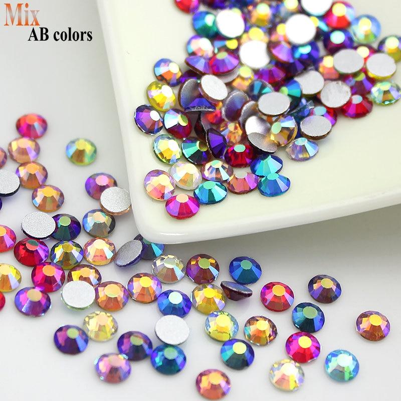 Objavite nove izdelke Mešane AB barve Vse velikosti Non Hotfix Flatback Steklo Rhinestones nohtov nosorogoj za nohte Gems