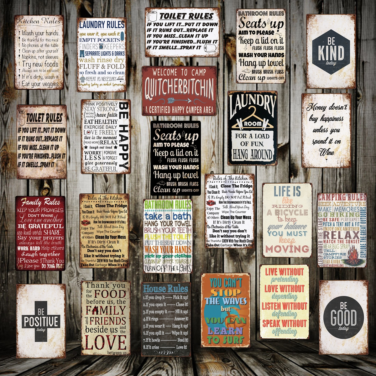 [ WellCraft ] TOILET KITCHEN Bathroom HOUSE LAUNDRY RULE Metal Sign Posters art Vintage Mural Painting Custom Decor LT-1742(China)