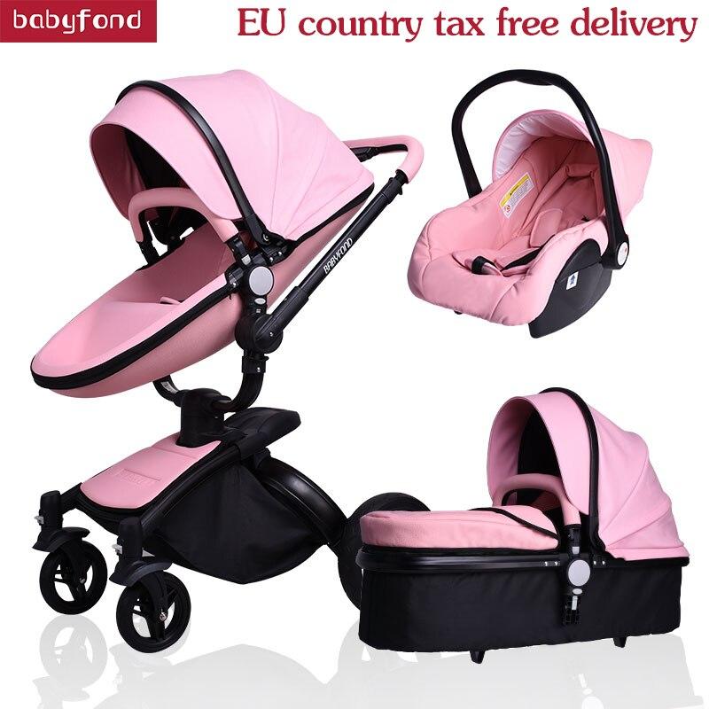 Nouveau-né bébé poussette en cuir bébé de voiture 3 dans 1 nouveau modèle bébé transport babyfond bébé poussette 4 pcs livraison cadeaux