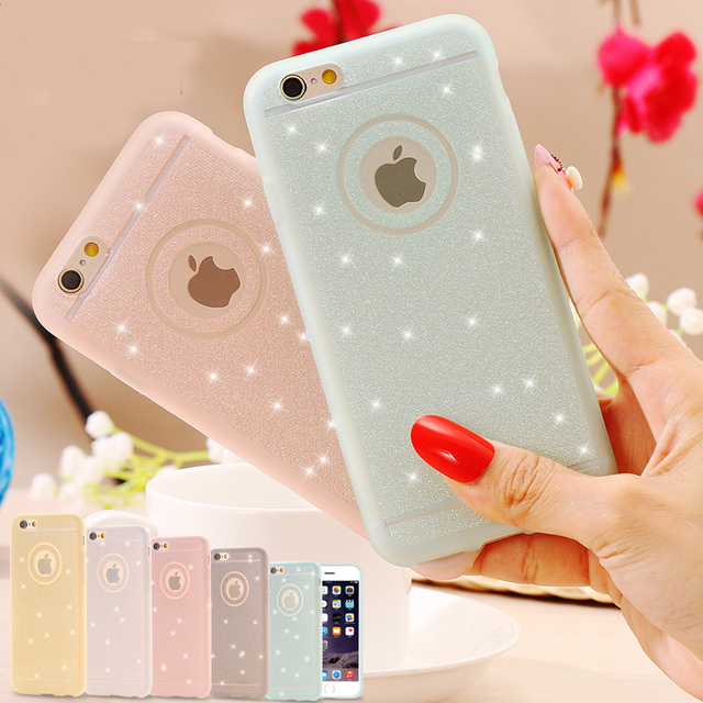 new concept e1325 32db0 US $2.63 |Glitter Powder Soft Silicone TPU Case For iPhone 6 6s 6plus  6sPlus 5 5s SE Cases Ultra Slim Shining Back Cover Case Capa-in  Half-wrapped ...