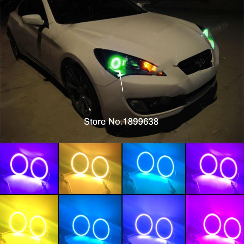 Super bright 7 color RGB LED Angel Eyes Kit with a remote control car styling for Hyundai Genesis Coupe 2010 2011 2012 2013 2014 2pcs super bright rgb led headlight halo angel demon eyes kit with a remote control car styling for ford mustang 2010 2012