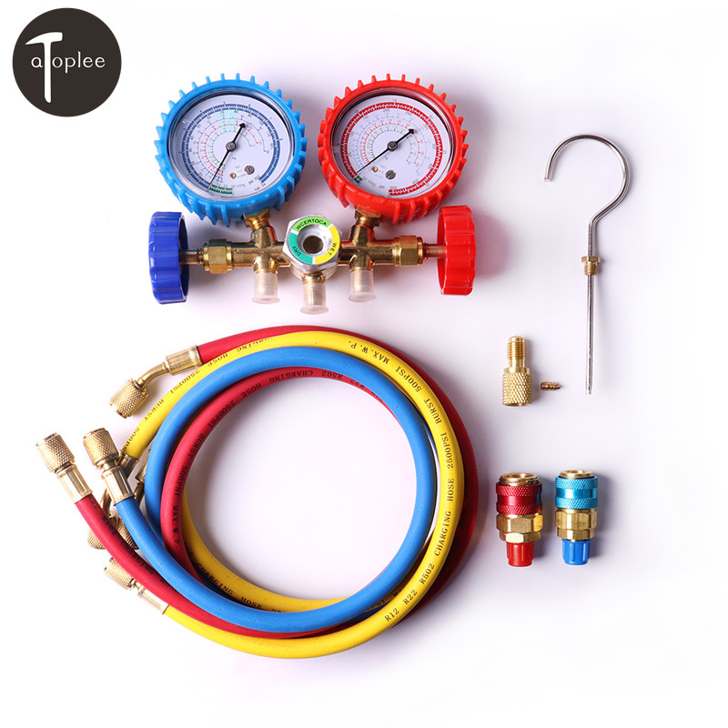 R12,R22,R502 And R134a A/C Manifold Brass Gauge Set+36 Freon Hoses+R134 Quick Couplers+ACME Adapter For Air Conditioning r