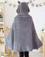 Lovely Totoro Plush Cute Cartoon Totoro Shawl Super Soft Coral Fleece Air Conditioning Blanket Gray Cosplay