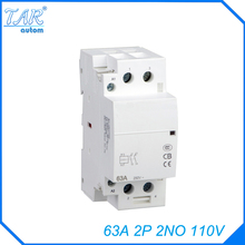 Din rail household AC contactor  63A 2P 110V 2NO Household contact module Din Rail Modular contactor цена 2017