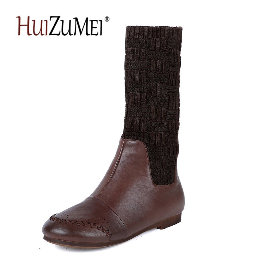 HUIZUMEI Winter boots new flat long genuine leather warm high boots retro soft round toe for women ladies boots huizumei new genuine leather women s boots autumn and winter shoes retro handmade round toe soft bottom rubber ankle ladies boot