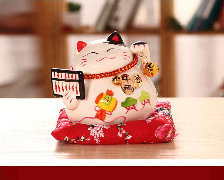 4.5 polegada cerâmica gato sorte decoração para