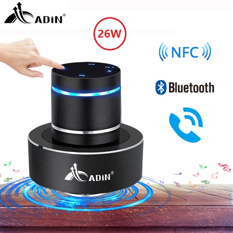 Adin 26W Vibration Speaker Bluetooth Bass Portable Speakers Wireless Resonance Touch Stereo Subwoofe NFC Handsfree with