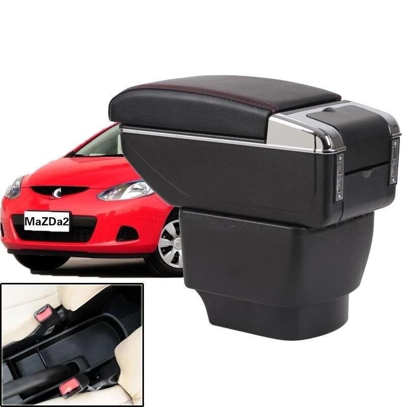 CITYCARAUTO MAIOR ESPAÇO + LUXO + USB caixa de Armazenamento De conteúdo caixa apoio de braço central Do Carro com suporte de copo USB APTO PARA mazda caixa de armazenamento 2