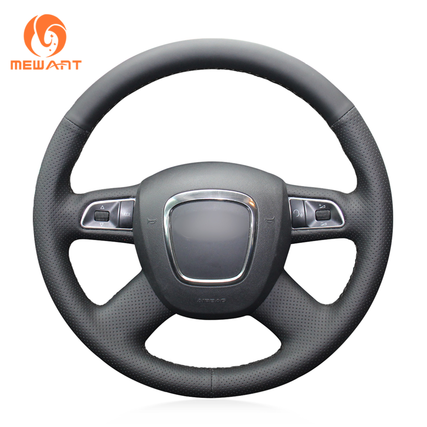 MEWANT Black Artificial Leather Car Steering Wheel Cover for Audi Old A4 B7 B8 A6 C6 2004-2011 Q5 2008-2012 Q7 2005-2011