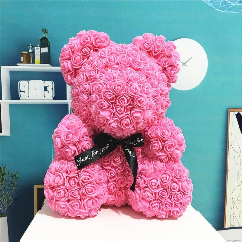 Oso Rosa lindo hecho a mano flor Artificial osos de peluche 40cm muñeca oso boda decoración del hogar cumpleaños niños regalo amor oso muñecas