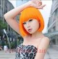 Синтетический Бобо Парик Моды Короткий Оранжевый Волнистые Косплей Парик Волос Perruca Аниме Парик Для Секси Дамы