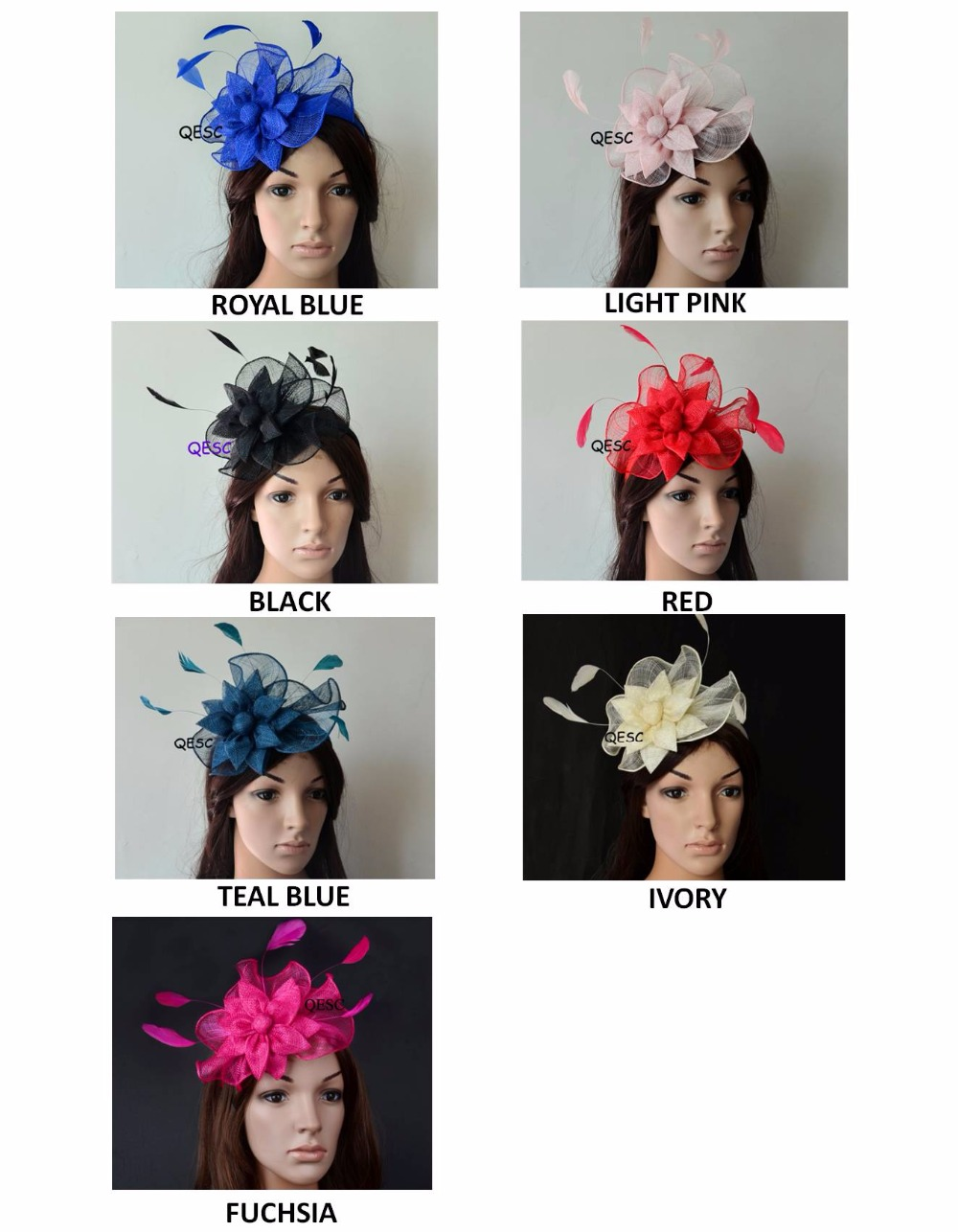NEW 7 colors Feather sinamay Fascinator wedding hat for Melbourne cup Ascot Races Derby Party Church
